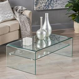 Modern Clear Glass Rectangle Coffee Table with Shelf