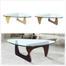 Modern Coffee Table Dark Walnut Wood Base Clear Glass Authen