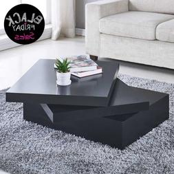 Modern Coffee Table Side End Table Square Rpund Rotating 3 L