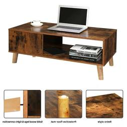 Modern  Coffee Table Side End Wood Table With Storage Shelf