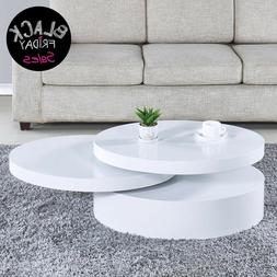 Modern Coffee Table White Round Rotating Contemporary Living