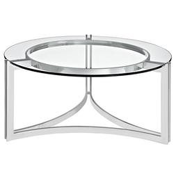 Modern Contemporary Stainless Steel Glass Coffee Table, Silv