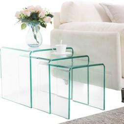 Modern Design Nest of 3 Clear Glass Coffee Table Side End Ta