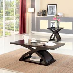 Modern Espresso Wood Coffee Table X Shaped Base Furniture of