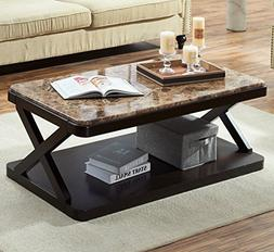 O&K Furniture Modern Faux Marble Top Coffee Table, Rectangul