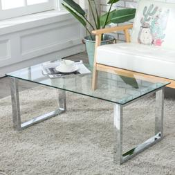 Modern Coffee Table Side End Glass & Stainless Steel Table L