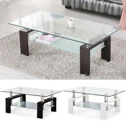 Modern Glass Chrome Wood Coffee Table Shelf Rectangular Livi
