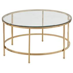 "Rivet Modern Glass and Gold Coffee Table, 36"" W, Gold Finish"