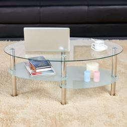 Modern Glass Top Coffee Table Sofa Side Table Living Room St