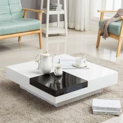 Modern High Gloss Black & White Coffee Table with Removeable