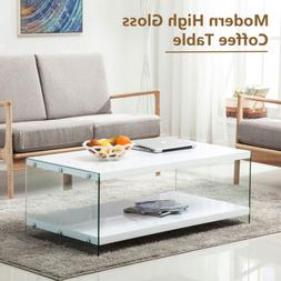modern high gloss white coffee table storage