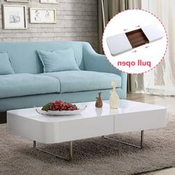 Modern High Gloss Rectangular Coffee Table w/ Hidden Storage