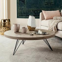 Modern Light Grey Round Coffee Table Living Room Furniture