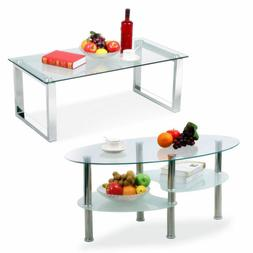 Modern Design Living Room Glass Coffee Table Shelf Chrome Fi