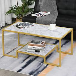 Modern Faux Marble Texture Coffee Table End Side Desk with S