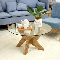 Modern Mid-Century Glass Round Coffee Table for Living Room