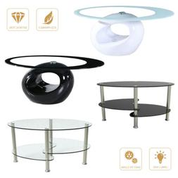 Modern Oval Glass Chrome Coffee Table Side Table w/Shelf Liv