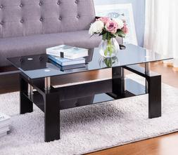 Modern Rectangle Cocktail Coffee Table Glass Top Wood Legs w