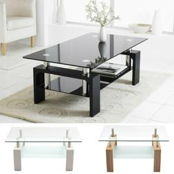 Modern Rectangle Cocktail Coffee Table Glass & Wood Living R