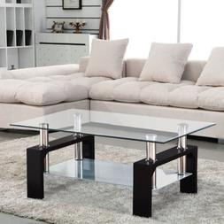 Modern Rectangular Black Glass Coffee Table Chrome Shelf Liv