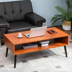 Modern Coffee Table Walnut End Sofa Side Table with 2-Tier S