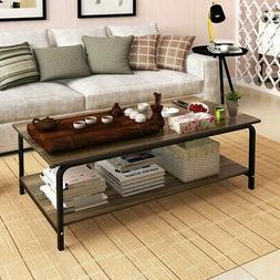 Modern Simple Wood Coffee Table Tea Desk Shelf Rectangular L