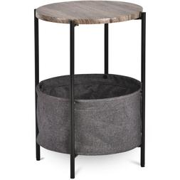 Modern Sofa Side End Table Nightstand with Basket Storage Ro