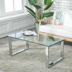 Modern Stainless Steel& Glass Coffee Table Side End Table Li