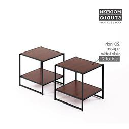 Zinus Modern Studio Collection Set of Two 20 Inch Square Sid
