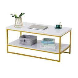 Modern Style Marble Coffee Table Living Room Furniture Metal