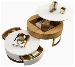 Homary Modern White&Natural Lift-Top Round Coffee Table with