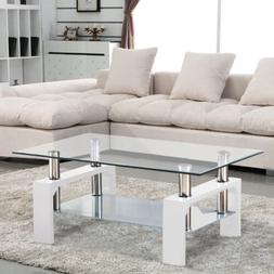 Modern White Glass Coffee Table Rectangular Shelf Chrome Liv