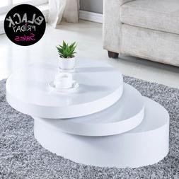 Modern White Round Coffee Table Rotating Contemporary Living
