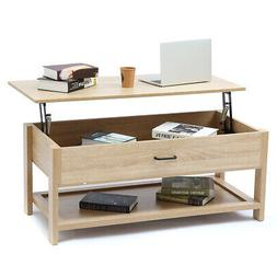 Modern Wood Lift Top Coffee Table With Storage Space Living