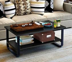Mordern Large Coffee Table with Lower Storage Shelf for Livi