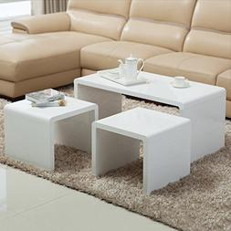 SUNCOO Nesting Coffee Table of 3 End Side Modern Save Place