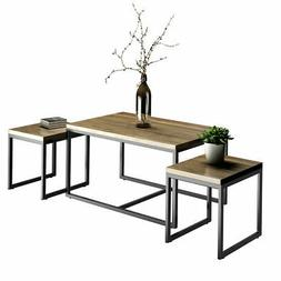3 Piece Nesting Coffee & End Table Set Wood Modern Living Ro