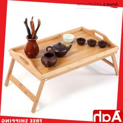 New Bamboo Coffee Tea Table TV Dinner Folding Timber Snack D