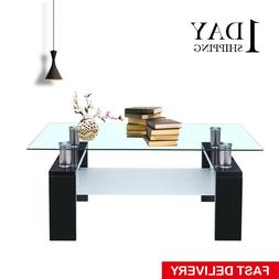 New Black Glass Rectangular Coffee Table Shelf Chrome Wood L