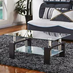 Hot Style New Black Rectangular Glass Coffee Table Shelf Liv