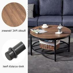 NEW Coffee Table Round Solid Wood Home Living Room Furniture