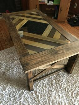 New Custom-built Real Wood Coffee Table with Glass Top