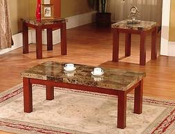 New Faux Marble 3 Piece Coffee and End Table Set Tables, in