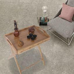 New TV Tray Table Set Wood Stand End Folding Furniture Serve