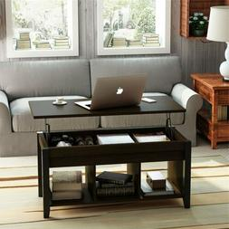 New Wood Lift Top Coffee Table with Hidden Storage and Shelf