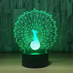 Novel Smart Touch Peacock 3D Touch Optical ILLusion Night Li