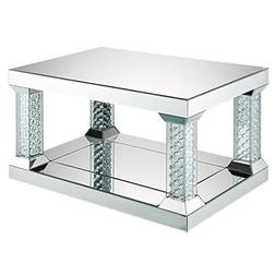 "Acme Furniture ACME Nysa 36"" x 24"" Glass Top Mirrored Coffee"