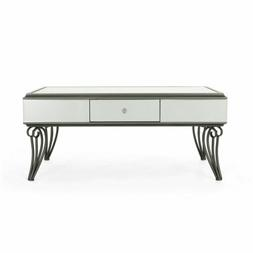 Ophelia Modern Mirrored Coffee Table with Drawer, Tempered G