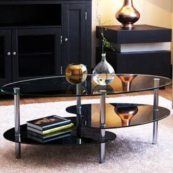 Ryan Rove Orion 38 Inch Oval Two Tier Glass Coffee Table Cle