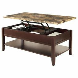 Lexicon Orton Faux Marble Lift Top Coffee Table in Dark Cher